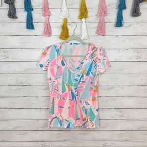 Lilly Pulitzer Michele V-Neck Top in Out To Sea